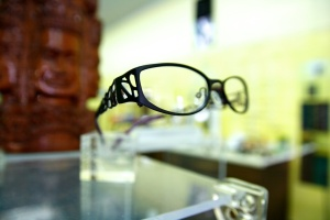 Slanted view of black glasses.
