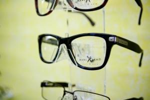 Glasses on a rack.