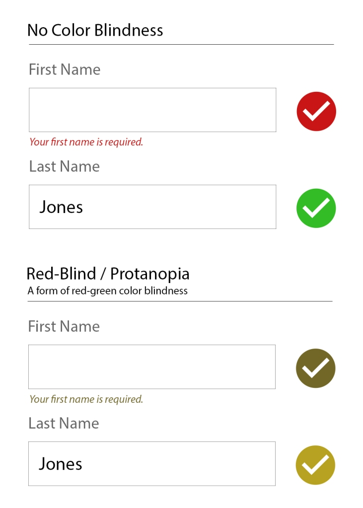 "A no color blindness example form of a First name field with a red checkmark and ""Your first name is required text"", and a filled-in last name field with a green checkmark. The second form is identical but with a red-blind / protanopia view (a form of red-green color blindness) where the checkmarks are both a similar brownish/yellow-ish color."