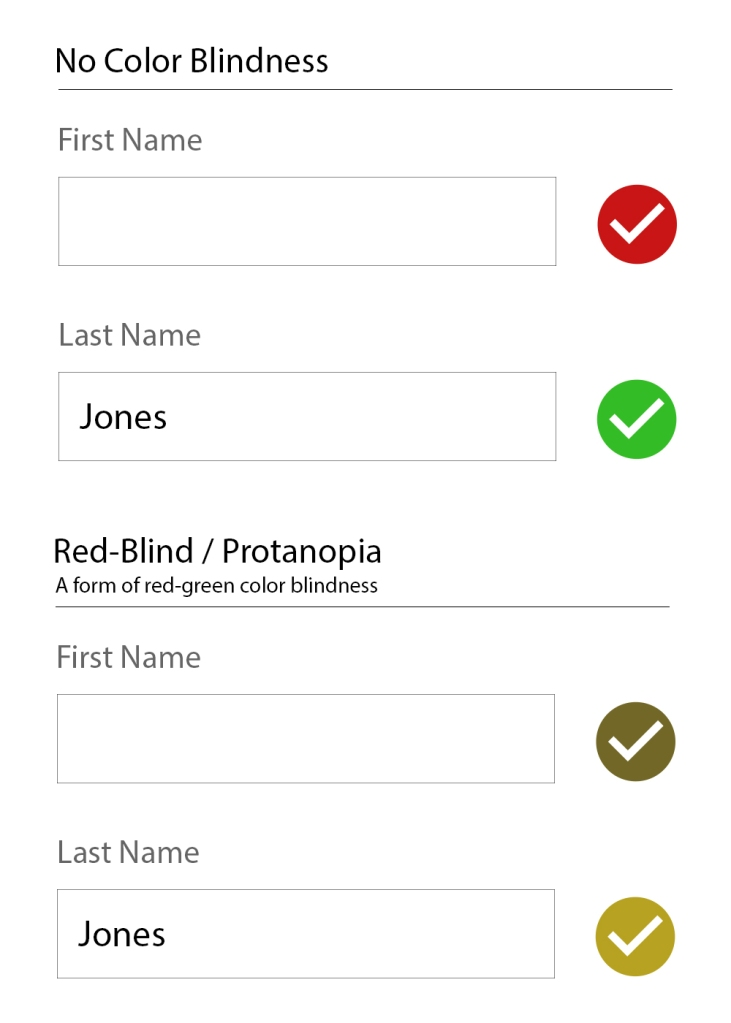 A no color blindness example form of a First name field with a red checkmark, and a filled-in last name field with a green checkmark. The second form is identical but with a red-blind / protanopia view (a form of red-green color blindness) where the checkmarks are both a similar brownish/yellow-ish color.