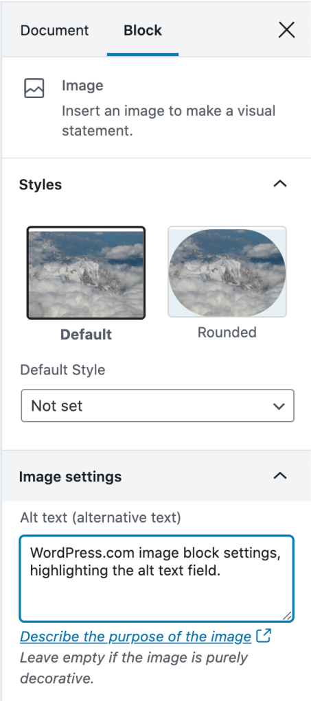 WordPress.com image block settings, highlighting the alt text field.