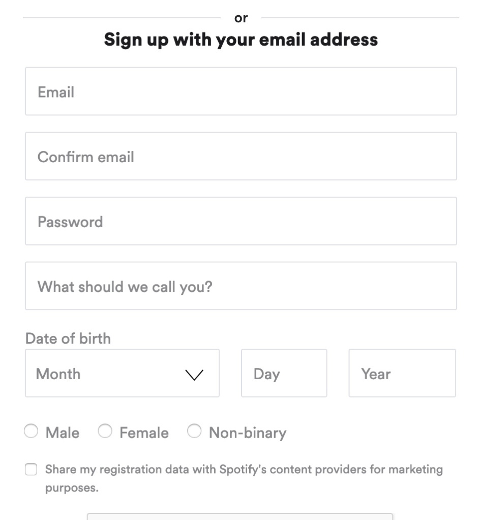 Sign-up form using light gray placeholder text for each input. There are no visible labels.